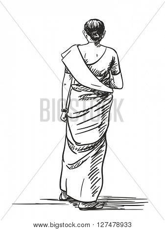 Sketch of walking woman in sari, Hand drawn illustration