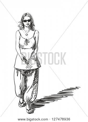 Sketch of young woman walking wearing summer clothes, Hand drawn illustration