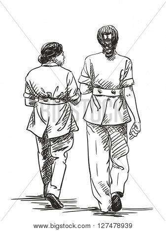Sketch of two walking women in official clothing, Hand drawn illustration