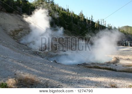Geyser At Yellowstone National Park