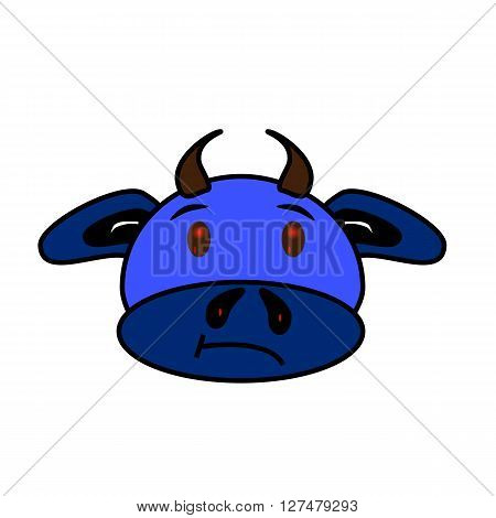 Blue funny bull with red eyes and small horns