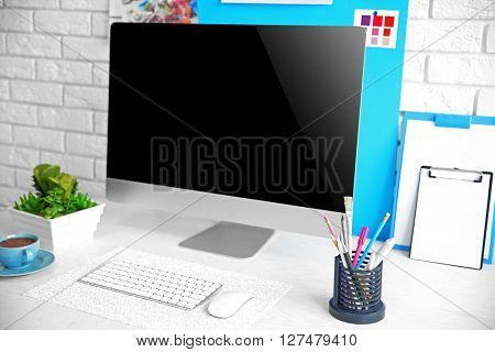 Stylish bright workplace of vivid person
