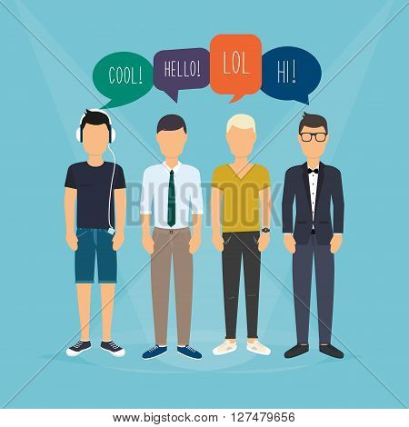 Four Guys Communicate. Speech Bubbles With Social Media Words. Vector Illustration Of A Communicatio