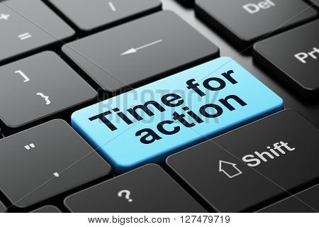 Timeline concept: computer keyboard with word Time For Action, selected focus on enter button background, 3D rendering