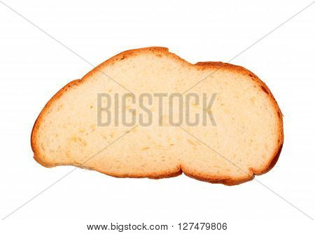 Slice of wheat bread isolated on white background