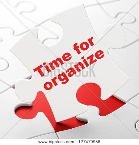 Timeline concept: Time For Organize on White puzzle pieces background, 3D rendering