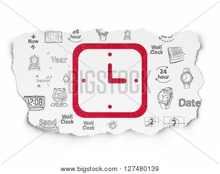 Time concept: Painted red Watch icon on Torn Paper background with  Hand Drawing Time Icons