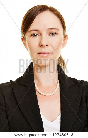 Head shot of successful attractive business woman