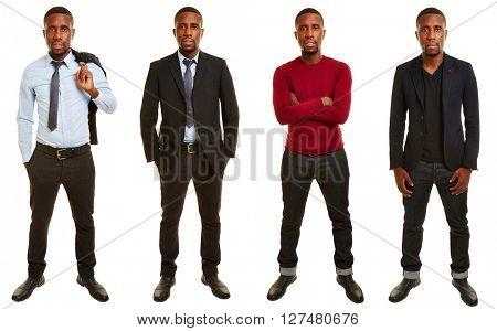 Versions of african man with different outfits in casual and business clothing