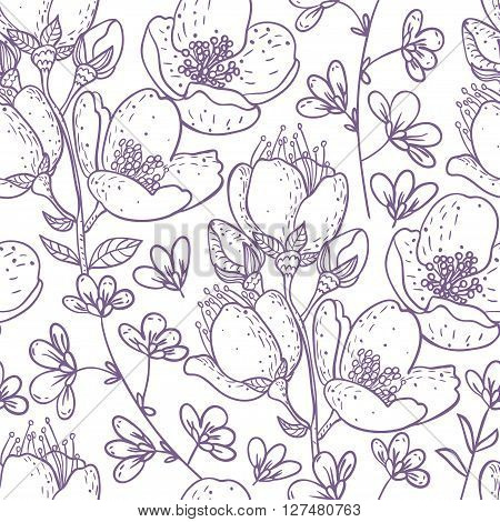 Beautiful seamless pattern with amazing flowers. vector illustration