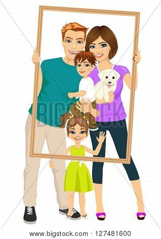 Smiling family with son, daughter and dog looking through an empty frame isolated over white background