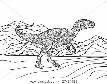 Tyrannosaurus coloring book for adults vector illustration. Zentangle style. Black and white lines. Lace pattern