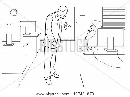 Cartoon business. Boss angry and woman afraid in open office. Black vector illustration isolated on white background.