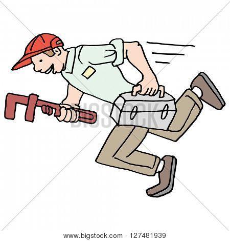 An image of a speedy running plumber.