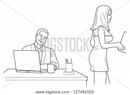 Man looking man looks at a woman in back office. Black vector illustration isolated on white background.