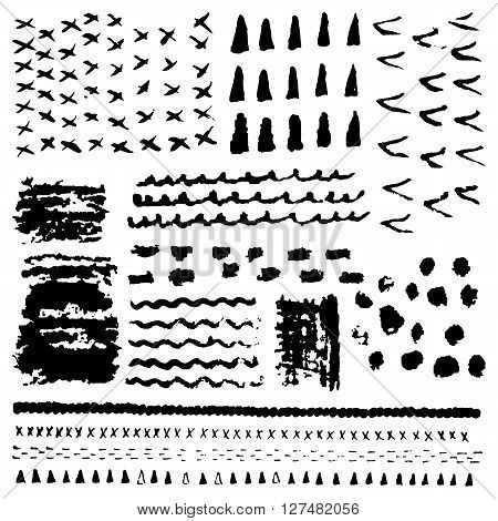 Vector set of black brush strokes. Editable isolated elements. Grunge brushes or banners for your design. Freehand. Watercolor splash. Acrylic stamp.