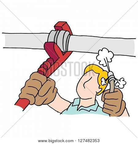 An image of a plumber using wrench and high pressure hose on pipe.