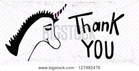 Vector card with unicorn and sign Thank You. For web and mobile icon isolated on background, art template, retro elements.
