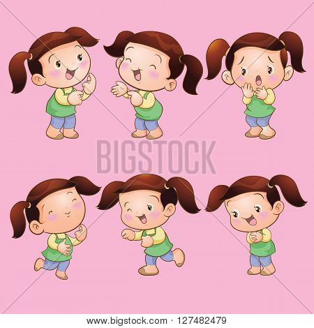 Vector cartoon of Cute children girl actions set