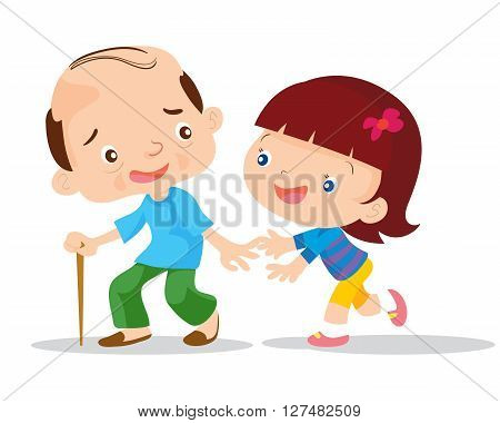 Grandfather and granddaughter helping  Vector  flat  illustration