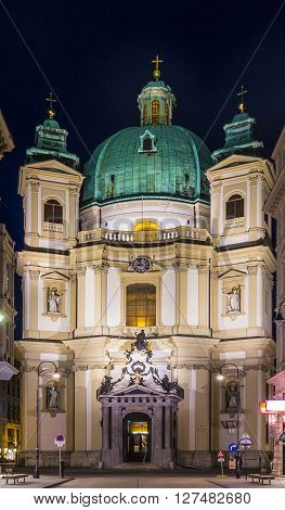 old Sst. peters cathedral in vienna by night