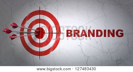 Success advertising concept: arrows hitting the center of target, Red Branding on wall background, 3D rendering