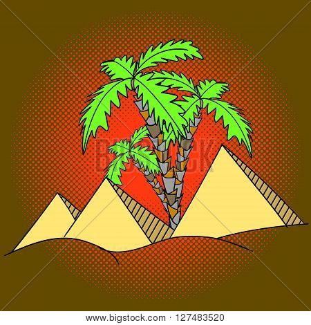 Egypt pyramids and palm trees pop art vector illustration