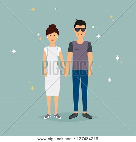 Happy Couple Holding Hands. Cartoon Man And Woman In Love.  Romantic Communication Of People In Love