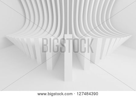 3d Illustration of Circular Architecture Background. White Modern Building Construction