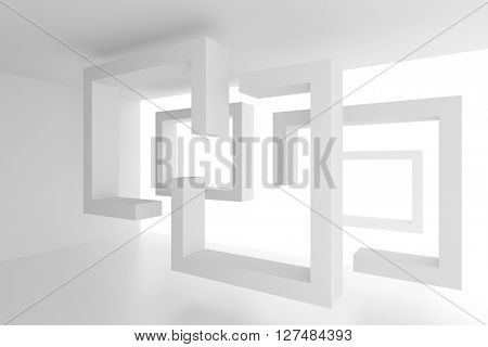 3d Illustration of White Architecture Background. Abstract Minimal Design
