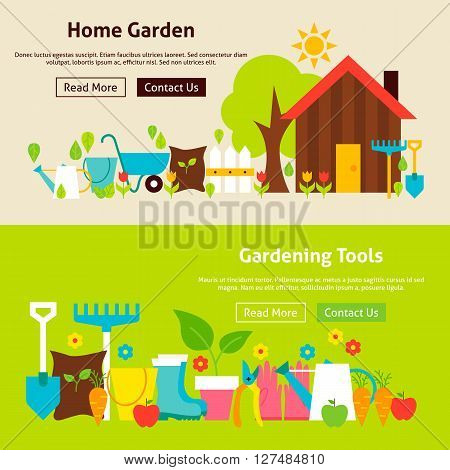 Home Gardening Tools Flat Website Banners Set