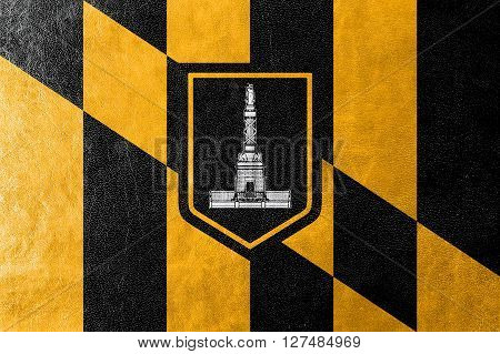 Flag Of Baltimore, Maryland, Painted On Leather Texture