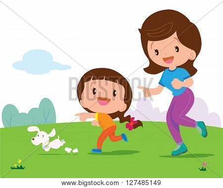 Mother and daughter jogging with cute dog in the park