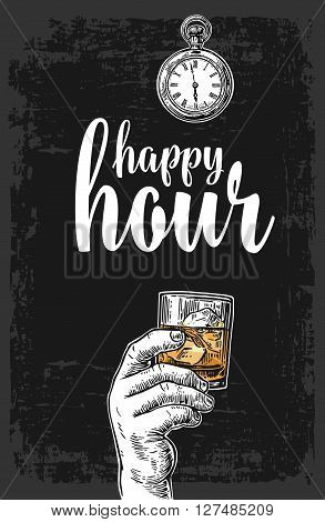 Male hand holding a glass with whiskey and ice cubes. Vintage vector engraving illustration for label poster menu. Dark background. Happy hour.