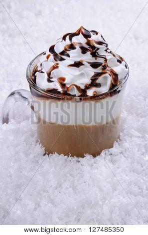 Coffee in whipped cream with chocolate topping Irish cream