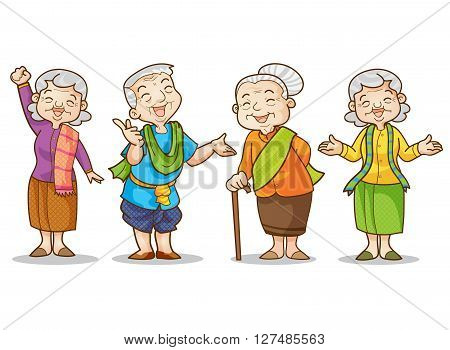 Funny illustration of old man and woman in traditional costume cartoon character set. Isolated vector illustration.