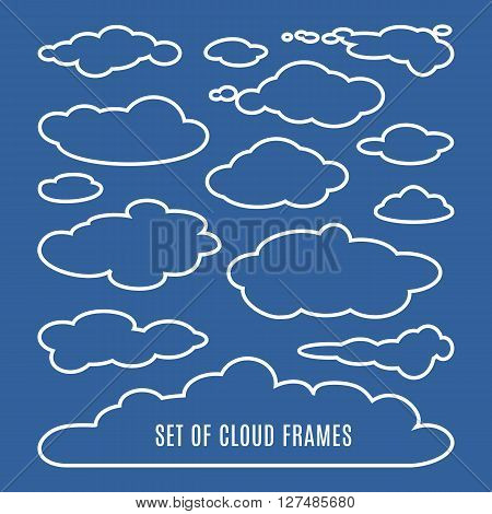 Editable illustration of clouds isolated on dark blue background. Set of clouds of different shapes. Great collection of cloudscape elements. Heaven pattern. Meteorology. design illustration