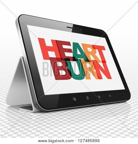 Health concept: Tablet Computer with Painted multicolor text Heartburn on display, 3D rendering