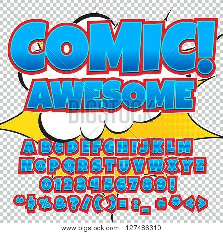 Comic alphabet set. Light blue color version. Letters, numbers and figures for kids' illustrations, websites, comics, banners.