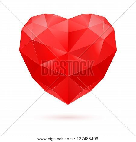 Red polygonal heart on white background. Ruby gem