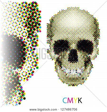 Halftone skull image in CMYK colors on white background