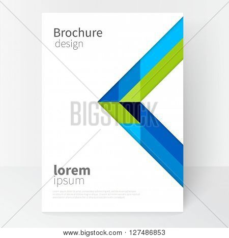 Vector brochure cover template. Blue and green diagonal lines and triangles. Modern abstract geometric minimalistic background. EPS 10