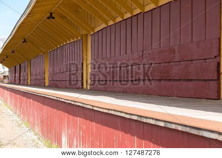 East Ely, Nevada,USA. 11th May 2015 Platform at Nevada Northern Railway Museum