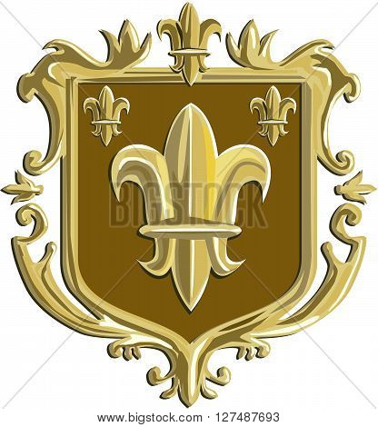Illustration of a fleur-de-lis fleur-de-lys or flower of the lily depicting a stylized lily or lotus flower inside a crest shield coat of arms done in retro style.