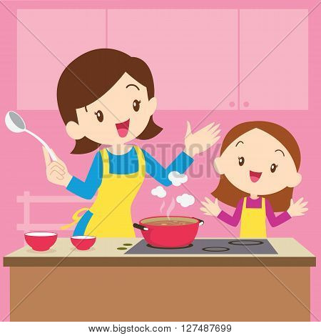 Vector Illustration of a mother and daughter cooking