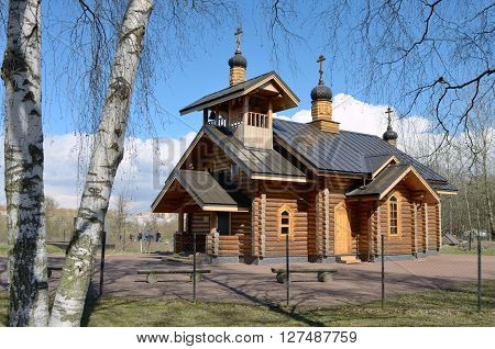 Russia.Saint-Petersburg.23 April2016.The temple is located in Polezhaevskaya Park on a Cape formed by Ligovsky terrace and the edge of the valley escarpment of Dudergofka.