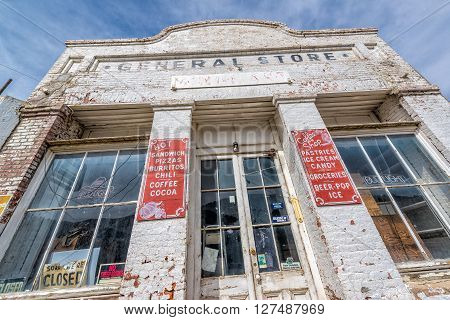 Eureka,Nevada, USA 11th May 2015, General store of Eureka a town on US Route 50 in Nevada, known as The Loneliest Road. The store is now closed