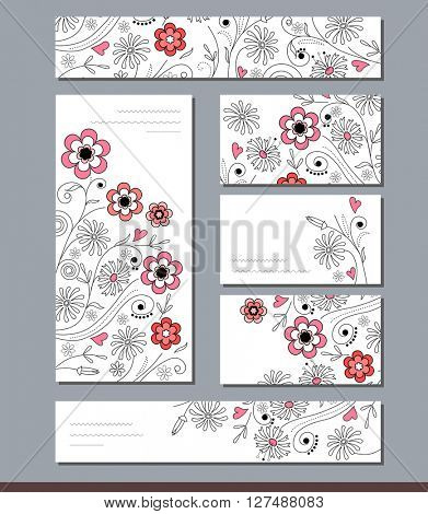 Templates with floral elements for branding and identity. For your design, announcements,  posters, advertisement.