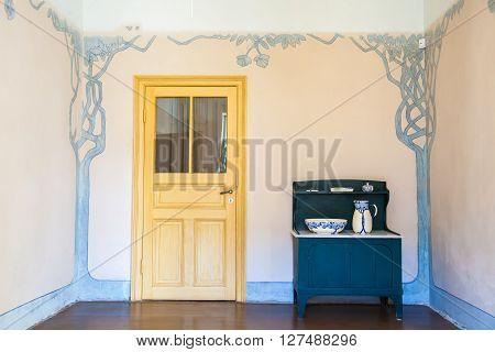 Riga, Latvia, 26 August 2015: Authentic Interior In Apartment Of Latvian Artist Janis Rozentals In M
