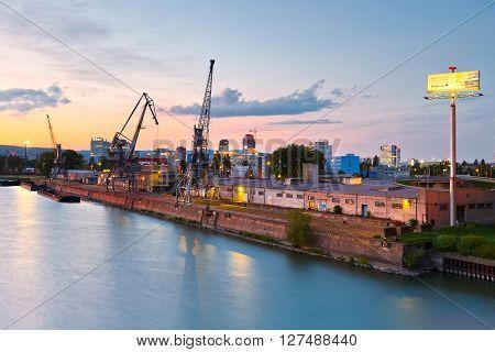 BRATISLAVA, SLOVAKIA - APRIL 25, 2016: Harbour on river Danube in Bratislava city, Slovakia. on April 25, 2016.